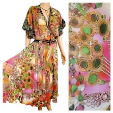 Collectible!  NWT Vintage DIANE FREIS $600 Baroque print Boho Dress