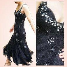 NWT $600 Vintage DIANE FREIS Black Lace goth witchy glam Dress