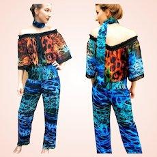 NWT $695 DIANE FREIS Vintage 1980s Photo print Jumper Jumpsuit Pant Suit