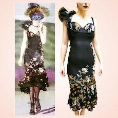 NWT $1000 Vintage DIANE FREIS Runway 1990s One-Shoulder embroidered mesh Boho Dress