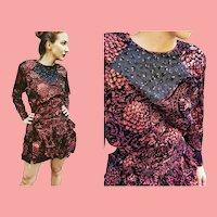 NWT $595 DIANE FREIS Vintage 1980s Metallic Red boho Mini Dress