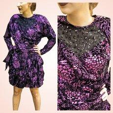 NWT $595 DIANE FREIS Vintage 1980s Metallic Magenta boho Mini Dress