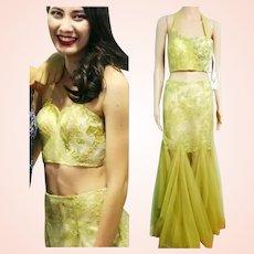 NWT $745 Vintage DIANE FREIS 2 piece 1990s Runway Maxi Skirt/Crop Top Dress