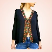 NWT $365 DIANE FREIS Vintage silk boho Hand-beaded Top/Blouse Jacket