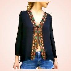 NWT $365 DIANE FREIS Vintage silk boho Hand-beaded Top/Blouse Jacket