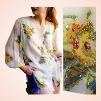 Exquisite!   NWT Vintage $1K DIANE FREIS Beaded Silk Blouse/Top/Shirt