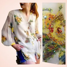 Exquisite!   NWT Vintage $1K DIANE FREIS Beaded Silk Blouse/Top/Shirt