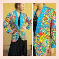The Designer's OWN Vintage 1980s DIANE FREIS Silk boho oversized Jacket Blazer