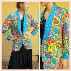 The Designer's OWN Vintage 1980s DIANE FREIS Silk boho oversized Jacket Blazer