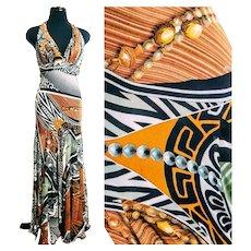 Unused Vintage $900 DIANE FREIS Baroque-Optic halter maxi Dress