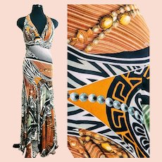 Unused Vintage $900 DIANE FREIS Baroque-Optic halter maxi Dress