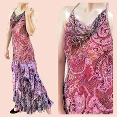 UNUSED Vintage $990 DIANE FREIS hand-beaded Halter Maxi Gown/Dress