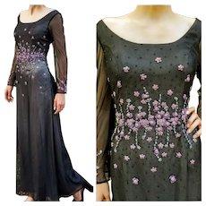 DIANE FREIS' OWN Vintage Collection! NWT $750 column formal 1990s sequin Maxi Dress Gown