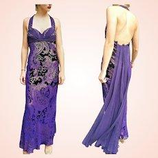 "NWT Vintage DIANE FREIS $990 ""Holiday Glam"" Purple Velvet Gown/Dress"
