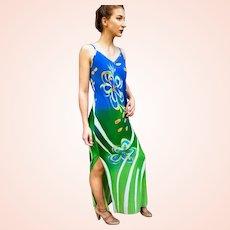 NWT Vintage $495 DIANE FREIS Resort/Cruise Maxi Dress