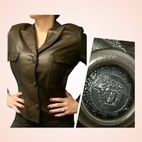 $2500 GIANNI VERSACE Vintage 1980s Chocolate Kid Leather Jacket/Coat