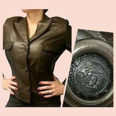 $2500 GIANNI VERSACE Vintage 1980s Chocolate Kid Leather Jacket/Coat