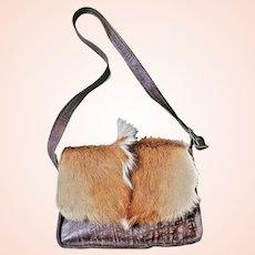 Vintage 90s MINT COND Axis Deer Fur/Hide/Hair Messenger Bag Purse