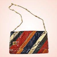 Vintage 1970s SNAKESKIN & PYTHON Clutch Purse or Shoulder Bag - Spain