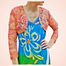 NWT $459 DIANE FREIS Lace Bolero Shrug/Jacket