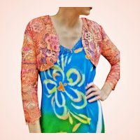 NWT $459 DIANE FREIS Vintage Lace Bolero Shrug/Jacket