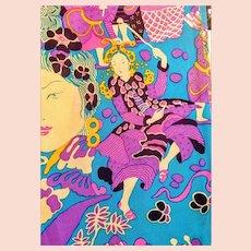 "UNUSED $390 Vintage DIANE FREIS ""Thai Ladies"" Silk Scarf - 36"""