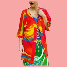 NWT $495 DIANE FREIS  Vintage Painted on Silk Tunic Jacket/Cover Up