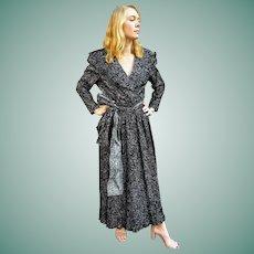 NWT $595 Vintage 80s DIANE FREIS boho Black/White Flocked VELVET Maxi Dress