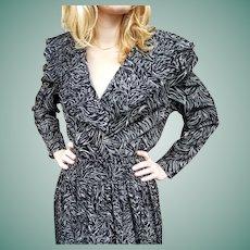 NWT $595 Flocked Velvet Vintage 1980s boho DIANE FREIS Dress
