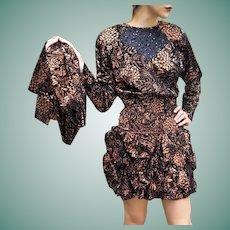 NWT $595 DIANE FREIS Vintage 1980s Metallic COPPER boho Mini Dress