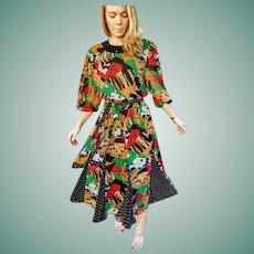 "ICONIC! Nwt $2500 DIANE FREIS vintage 80s ""Graffiti"" Boho Georgette Beaded Dress"