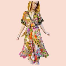 "NWT $600 DIANE FREIS vintage 1980s boho Rare ""Photoprint"" Baroque Dress"