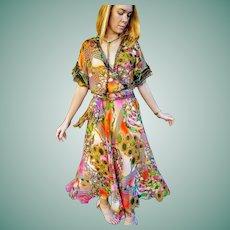"""NWT $600 DIANE FREIS vintage 1980s boho Rare """"Photoprint"""" Baroque Dress"""