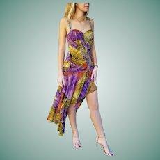"NWT $600 DIANE FREIS vintage ""Holiday Glam"" jungle-print Beaded Dress"