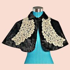 AUTHENTIC ANTIQUE Vintage 1800s VICTORIAN Black Velvet Cape & Battenburg Lace Collar
