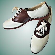 DEADSTOCK 1950s Vintage Cocoa Brown/White Saddle Shoes OXFORDS