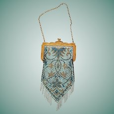 Vintage 1800s Victorian Antique PAINTED Enamel Mesh Purse Bag