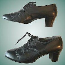 CUBAN Heels! 1940s Vintage Swing Dance Black Leather OXFORDS Shoes - sz 9!