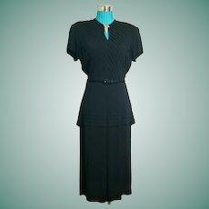 """Ultimate"" FILM NOIR 1940s Vintage LBD Black Cocktail Peplum Dress - w/Brooch!"