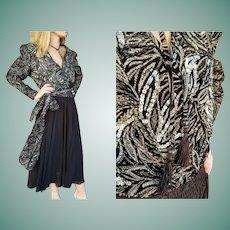 DEADSTOCK $2950 Vintage 1980s DIANE FREIS Beaded boho black/white Dress