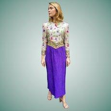 GLAMOROUS Vintage 1980s RICHILENE New York City Beaded Gown Dress