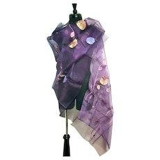 NWT Vintage $199 DIANE FREIS Purple Silk Embroidered Scarf/Pashmina/Wrap
