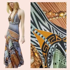 Vintage DEADSTOCK $900 DIANE FREIS Baroque/Optic Maxi Halter Dress