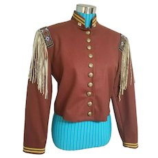 So Sought-After!  Vintage DOUBLE D RANCHWEAR Beaded Fringe CALVARY Jacket Coat
