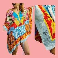 NWT $395 Deadstock DIANE FREIS Vintage 1990s Silk Tunic/Dress/Poncho