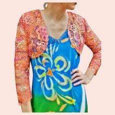 NWT $459 DIANE FREIS Vintage 1980s Lace Bolero Shrug/Jacket