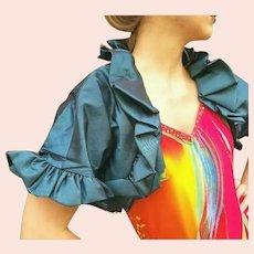 NWT $875 DIANE FREIS Teal Organza vintage boho ruffled Bolero Jacket