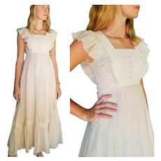 Romantic, ETHEREAL Vintage 1970s Cotton Gauze boho peasant Dress
