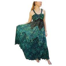 Vintage DEADSTOCK $850 DIANE FREIS 1990s India Silk boho beaded maxi Dress