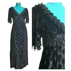"Vintage 1960s LILLIE RUBIN Black mod ""Victorian Steampunk"" Dress"